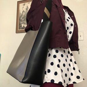 Calvin Klein Karsyn Grey Leather Tote